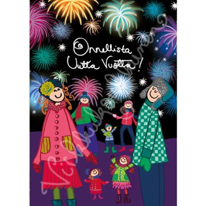 """Värikäs Virkkukoukkusen suunnittelema """"Onnelista uutta vuotta!""""-kortti!"""