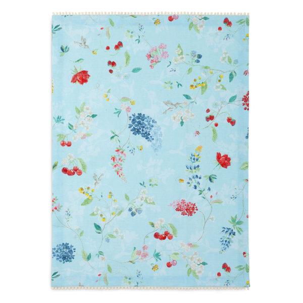 """Kaunis vaaleansininen Pip Studion keittiöpyyhe """"Hummingbirds Blue"""" kuosilla. Pyyhkeen koko on 50 x 70 cm ja se on 100% puuvillaa."""