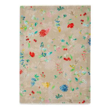"""Kaunis khakivärinen Pip Studion keittiöpyyhe """"Hummingbirds"""" kuosilla. Pyyhkeen koko on 50 x 70 cm ja se on 100% puuvillaa."""