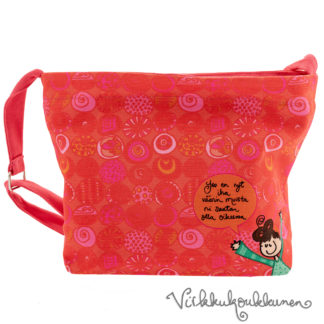 Ihana kotimainen Virkkukoukkusen punaoranssi Aikku laukku. Suomessa valmistetussa näpsässä laukussa on säädettävä olkahihna ja se on 100% puuvillaa.