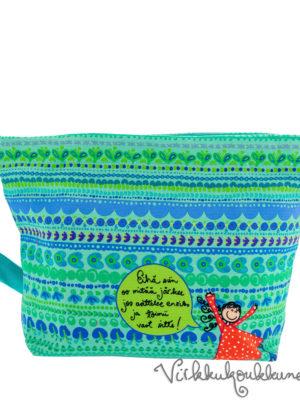 Ihana sinivihreä kotimainen Virkkukoukkusen Aikku laukku. Säädettävä olkahihna, 100% puuvillaa.