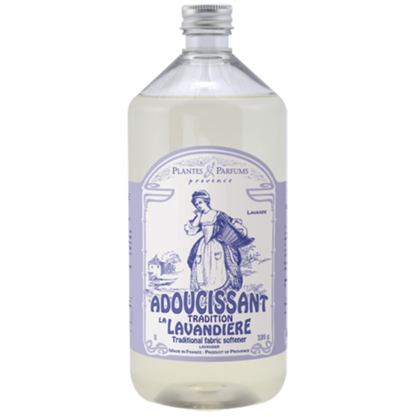 Plantes & Parfums -sarjan Ranskan Provencessa valmistettu laventelivesipohjainen huuhteluaine pehmentää ja raikastaa pyykin, 1000ml pullo.