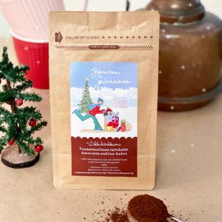 """Herkullinen amaretto-suklaa-kahvi kauniilla jouluisella etiketillä ja tekstillä """"Riemuisaa joulunaikaa"""". Valmistettu Suomessa."""