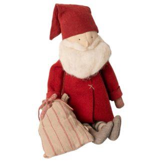 Mailegin joulupukki punaisessa nutussa tonttulakki päässä lahjasäkki kädessä