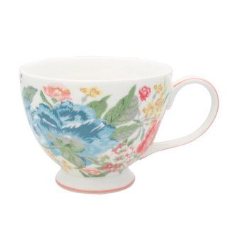 Greengaten kaunis valkopohjainen kukkakuvioinen teekuppi Adele-sarjaa.