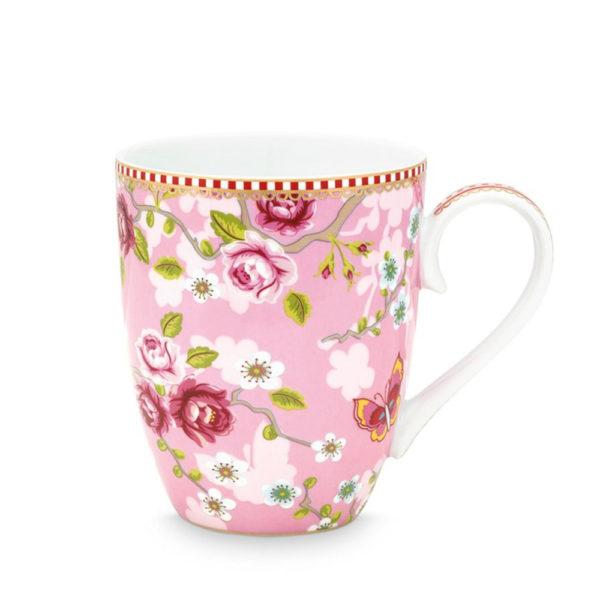 Pip Studion kaunis vaaleanpunainen suuri muki on Chinese Rose -sarjaa.