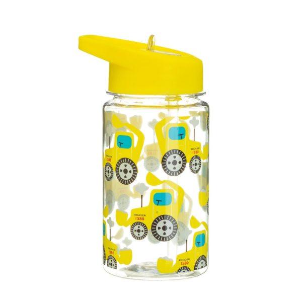 Sass & Bellen keltainen kaivinkonekuvioinen juomapullo pillillä.