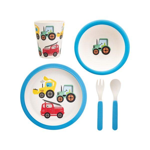 Sass & Bellen ihan lastenastiasto paloautojen, traktoreiden ja kaivinkoneiden kuvilla.