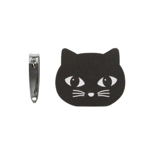 Sass & Bellen musta kissanpäänmuotoinen kynsiviila ja kynsileikkurit setti.