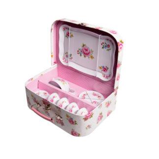 Sass & Bellen kaunis kukkakuvioinen valkovaaleanpunainen leikkiastiasto pahvisalkussa. Tarjotin, kupit ja lautaset metallia.