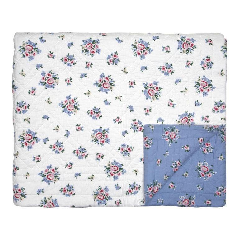 Greengaten kaunis sinisävyinen päiväpeitto kauniilla kukkakuvioinnilla koossa 180x230 cm.