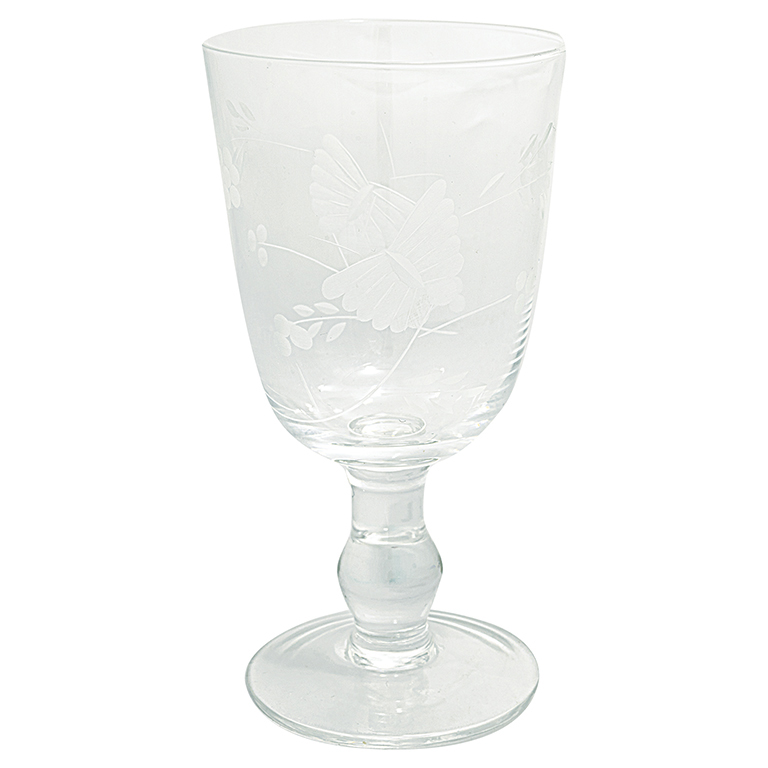 Greengaten kaunis jalallinen lasi hiotulla perhoskuvioinnilla.