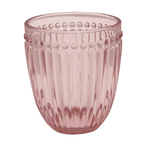 Greengaten kaunis vaaleanpunainen juomalasi on Alice-sarjaa.
