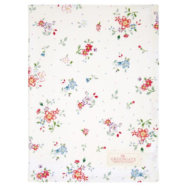 Greengaten kaunis valkoinen hempeän kukkakuvioinen keittiöpyyhe on Belle-sarjaa.