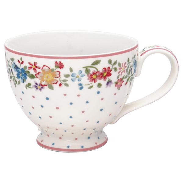 Greengaten kaunis valkoinen hempeän kukkakuvioinen teekuppi on Belle-sarjaa.