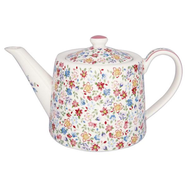 Greengaten superkaunis valkopohjainen hempeän kukkakuvioinen teekannu on Clementine-sarjaa.