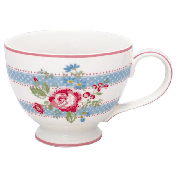 Greengaten ihana sini-pinkki kukka- ja raitakuvioinen teekuppi on Evie-sarjaa.