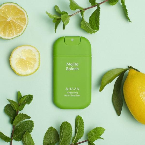 HAAN Suihkutettava 30 ml hyväntuoksuinen kosteuttava käsidesi joka sisältää myös aloe veraa. Vihreä Mojito Splash tuoksuu raikkaalta mintulta ja limeltä.