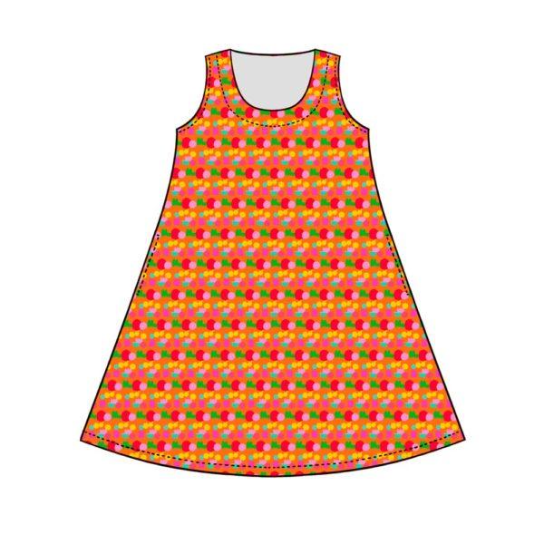 Kotimainen Virkkukoukkusen hihaton Helle-mekko U-pääntiellä ja oranssipohjaisella Pikkulempukka-kuosilla. Piirroskuva kuosista ja mallista.