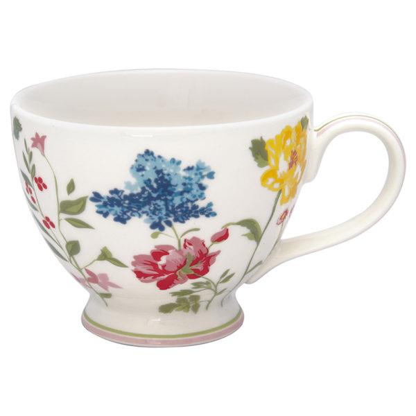 Greengaten kaunis valkopohjainen kukkakuvioinen teekuppi on Thilde-sarjaa.
