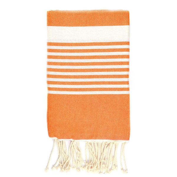 Monikäyttöinen puuvillainen kauniin oranssi hamam-liina almeriaraidoilla.