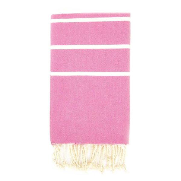 Monikäyttöinen puuvillainen vaaleanpunainen hamam-liina tasaraidoilla.