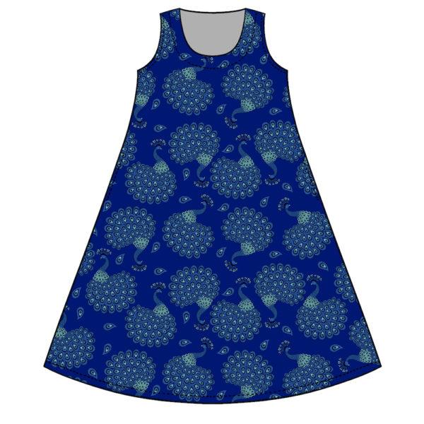 Virkkukoukkusen kaunis A-linjainen trikoomekko sinisellä Iso riikinkukko-kuosilla. Kotimainen mukavan tuntuinen hellemekko on hihaton ja siinä on O-pääntie.
