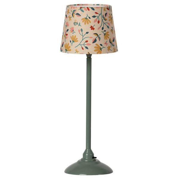 Maileg miniature floor lamp, dark mint - Mailegin miniatyyrilattiavalaisin kauniilla kukkakuvioisella varjostimella ja tumman mintunvärisellä jalalla.