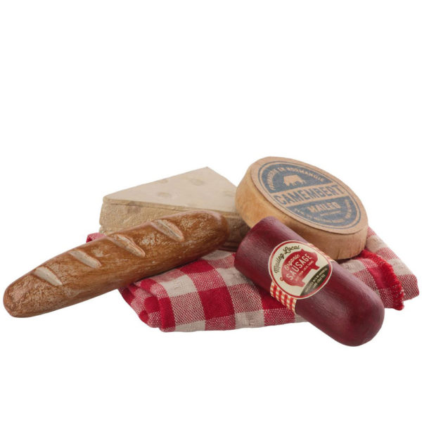 Maileg Vintage picnic set - Mailegin ihana pikniksetti puna-valkoruudullisessa kangaspussissa, jossa piknikherkut.