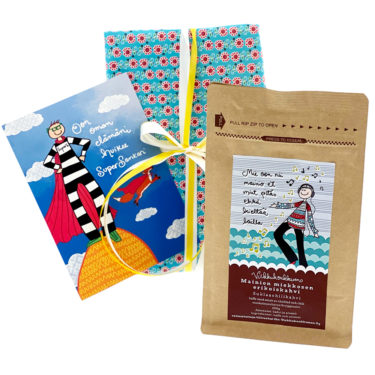 Virkkukoukkusen kevätlahja - ihana lahjapaketti opettajalle, päiväkodintädille tai ystävälle. Herkullinen suklaachilikahvi, paketointi ja käsinkirjoitettu kortti.