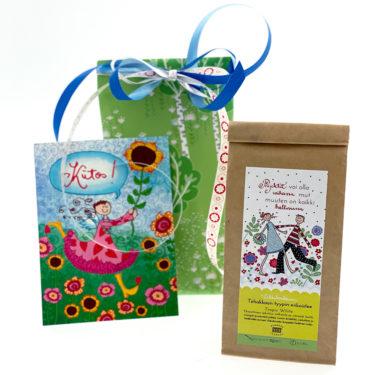 Virkkukoukkusen kevätlahja - ihana lahjapaketti opettajalle, päiväkodintädille tai ystävälle. Herkullinen tee, paketointi ja käsinkirjoitettu kortti.
