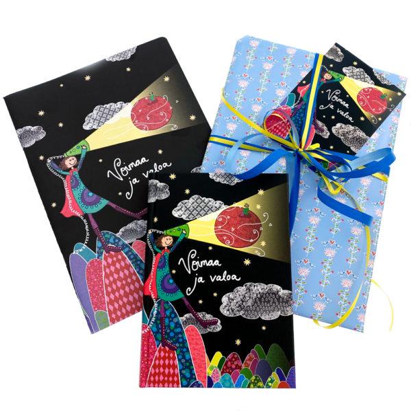 Virkkukoukkusen kevätlahja - ihana lahjapaketti opettajalle, päiväkodinhoitajalle tai ystävälle. Ihana muistikirja, vihko, paketointi ja käsinkirjoitettu kortti.