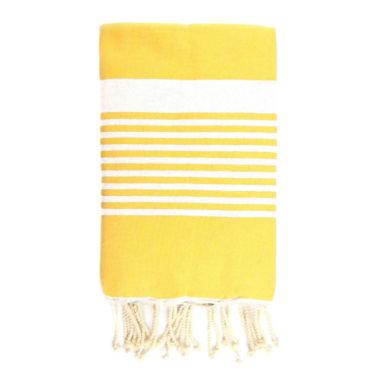 Monikäyttöinen puuvillainen keltainen almeria-raitainen hamam-liina.