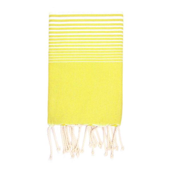 Monikäyttöinen puuvillainen keltainen malaga-raitainen hamam-liina.