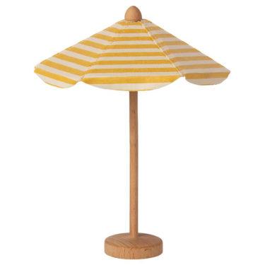 Maileg beach umbrella - Mailegin söpö kelta-valkoinen aurinkovarjo puujalalla Mailegin pienille hiirille, pupuille ja muille suloisille hahmoille.