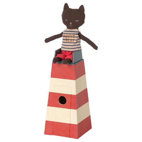 Mailegin puna-valkoinen hengenpelastajan torni ja kissa sekä pelastusrengas.