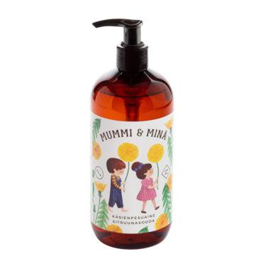 Mummi ja minä -sarjan ihanan tuoksuinen Sitruunasooda-käsienpesuaine 475 ml pumppupullossa..