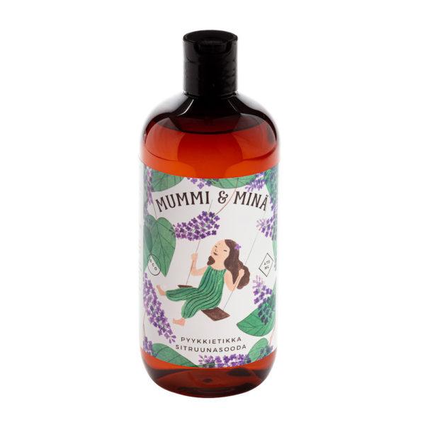 Mummi ja minä -sarjan ihanan tuoksuinen Sitruunasooda-pyykkietikka 475 ml pullossa.