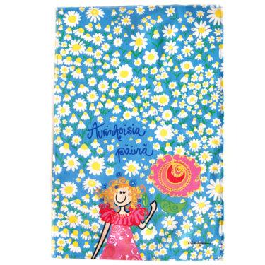 """Kotimainen Virkkukoukkusen ihana puolipellavainen keittiöpyyhe sinisellä Päivänkakkarat-kuosilla ja """"Aurinkoisia päiviä""""-tekstillä."""