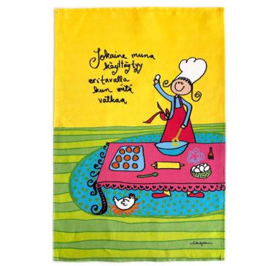 """Kotimainen Virkkukoukkusen ihana puolipellavainen iloisen keltainen keittiöpyyhe """"Jokaine muna käyttäytyy eri tavalla kun niitä vatkaa""""-tekstillä."""