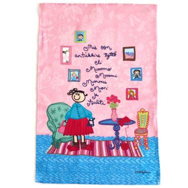 """Kotimainen Virkkukoukkusen ihana vaaleanpunainen puolipellavainen keittiöpyyhe, jossa teksti """"Mie oon antiikkine tyttö eli mummo mummi mummu muori ja isoäiti""""."""