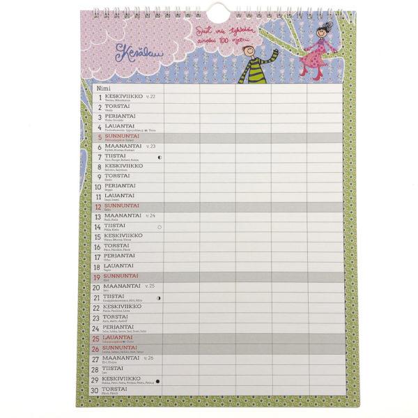 Virkkukoukkusen valloittava perhekalenteri jossa on tilaa viidelle perheenjäsenelle.