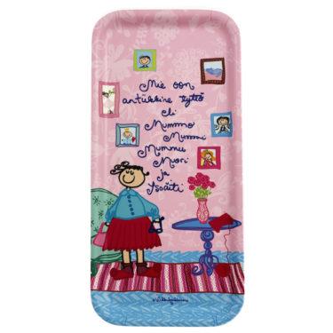Kotimaisesta koivusta kotimaassa tehty minitarjotin vaaleanpunaisella Mummo-kuosilla. Ihana kuva on molemmin puolin tarjotinta.