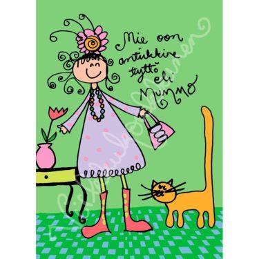 """Postikortti """"Mie oon antiikkine tyttö eli Mummo"""" 015"""