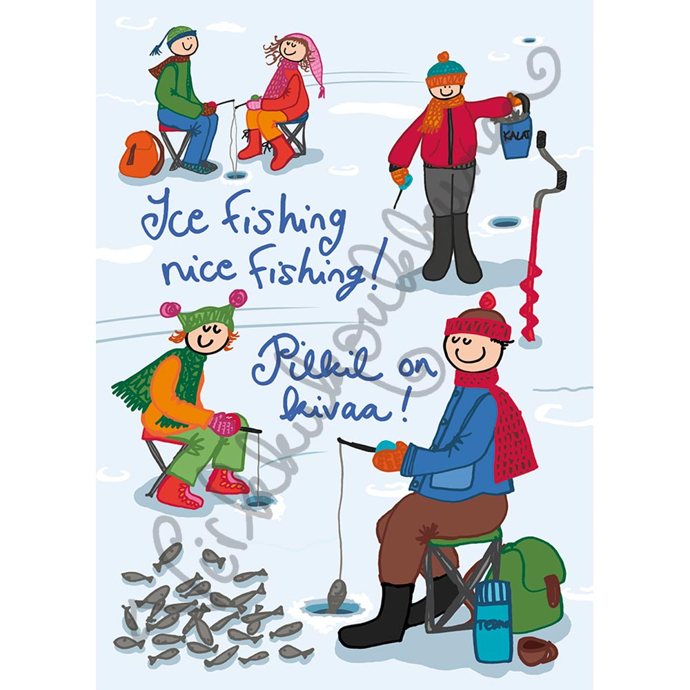"Postikortti ""Ice fishing nice fishing! Pilkil on kivaa!"" 259"
