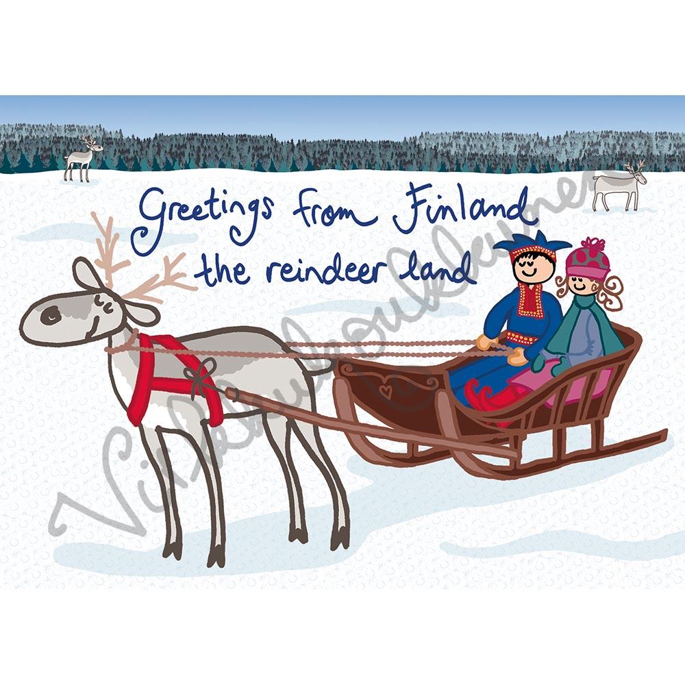 "Postikortti ""Reindeer land"" 261"