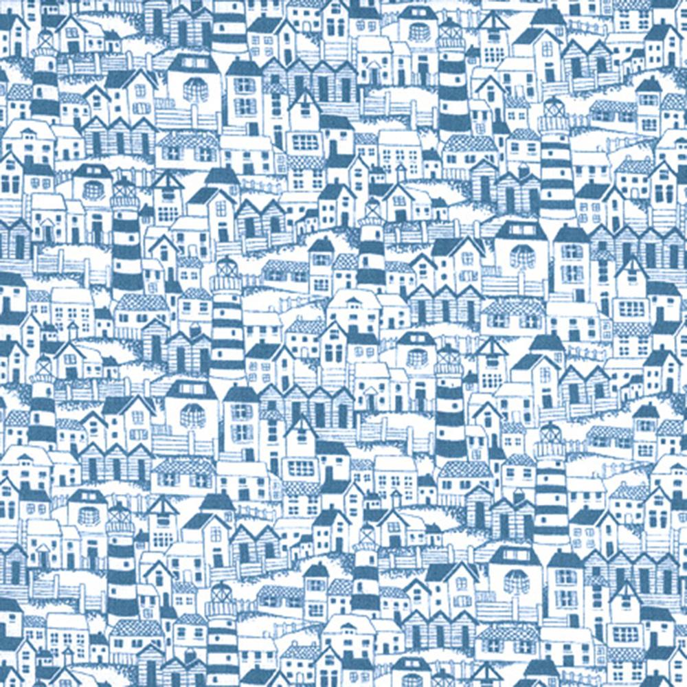 """Puuvillakangas """"Kylä rannikolla"""" Sininen"""