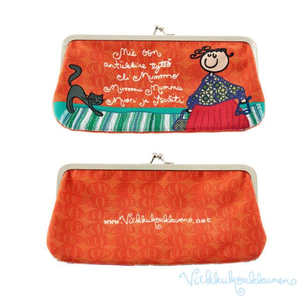 """Silmälasikukkaro Rille """"Mie oon antiikkine tyttö eli Mummo, Mummi, Mummu..."""" (oranssi)"""