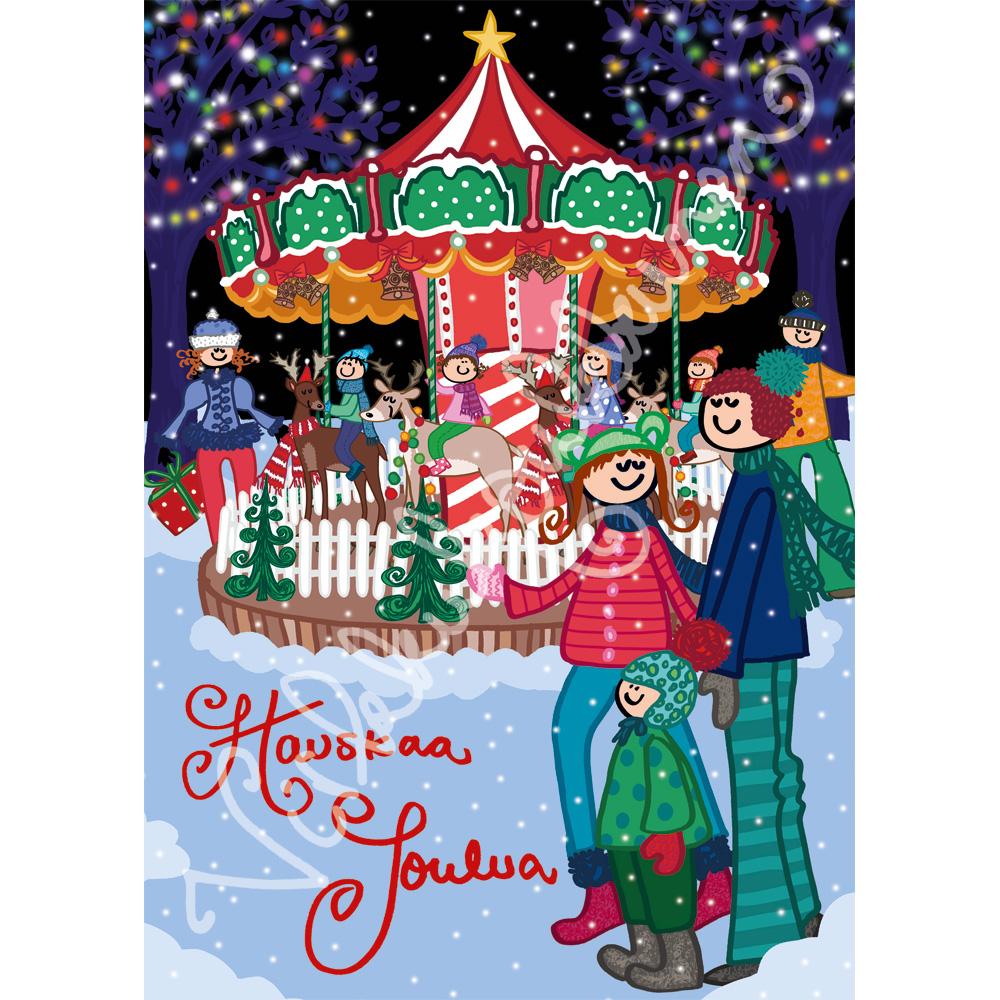"""Joulukortti """"Hauskaa Joulua"""" Karuselli 385"""