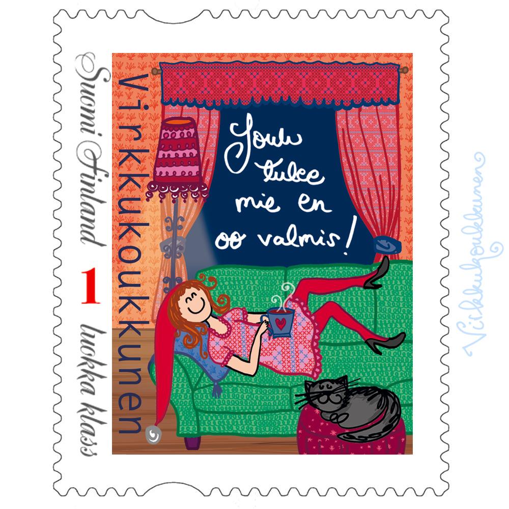 "Jouluinen postimerkki ""Joulu tulee mie en oo valmis!"""